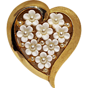Trifari heart pin plastic flowers simulated pearl