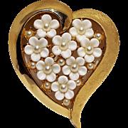Trifari heart pin plastic flowers simulated pearl