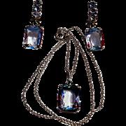 Iris rainbow glass pendant earrings set 800 835 silver RB