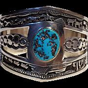 Southwest sterling silver turquoise storyteller cuff bracelet