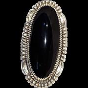 Begay Navajo sterling silver onyx ring