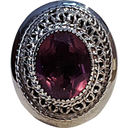 Danecraft sterling silver amethyst glass ring