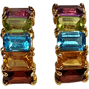 14K Gold multi gemstone earrings