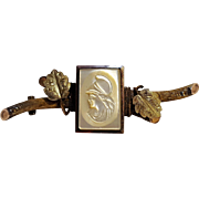 Antique Mother of pearl Roman soldier cameo bar pin