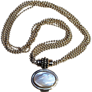 Joseph Esposito sterling silver five strand ball chain necklace Mother of pearl pendant convertible