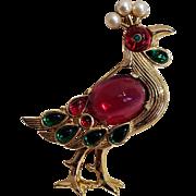 Trifari Moghul peacock pin Alfred Philippe 1949