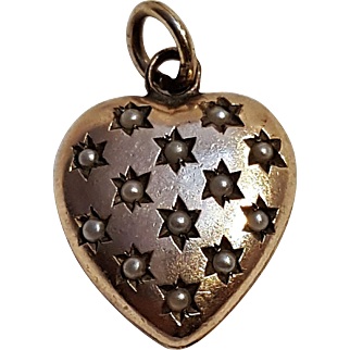 Gold plated seed pearl heart charm pendant antique
