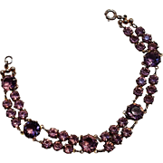 Purple rhinestone bracelet open back