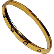 14K Gold diamond hinged hollow bangle bracelet ER