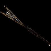 Victorian pin cut steel stones, lacy cut metal on brass