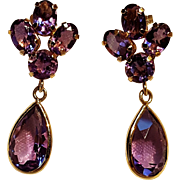 10K Gold amethyst stone drop earrings