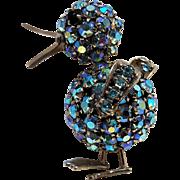 Warner rhinestone duck pin blue aurora borealis