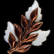 Matisse enamel copper pin Laurel white