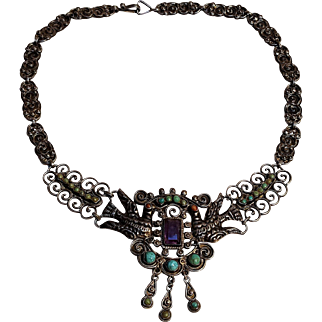 Matl Salas sterling necklace Palomas doves amethyst turquoise  Mexico