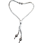 Monet lariat necklace silver tone chain