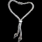 Monet lariat necklace silver tone chain
