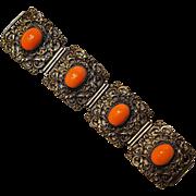 Coral glass cabochon ornate metal plaque bracelet Italy