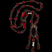 Czech red glass bead necklace twins filigree brass