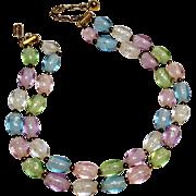 Trifari pastel lucite confetti oval egg bead necklace two strand