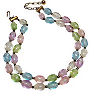 Trifari pastel lucite confetti oval egg bead necklace two strand
