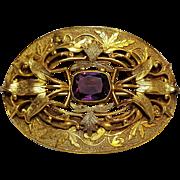 Antique sash pin gilt brass amethyst glass stone