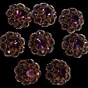 Purple rhinestone buttons set of 8