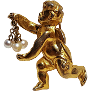Hattie Carnegie angel cherub pin simulated pearls