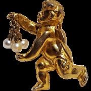 Hattie Carnegie angel cherub pin simulated pearls