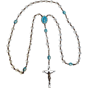 Creed sterling silver blue enamel rosary puffy Miraculous Mary and glass crystal beads