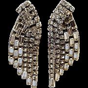 Hattie Carnegie cascading rhinestone clip earrings