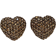 14K Gold fancy champagne  diamond heart earrings omega back John C Rinker