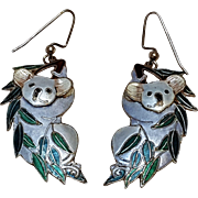 Sterling silver enamel Koala bear earrings