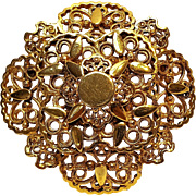 Florenza filigree plaque pin