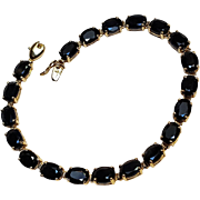 10K Gold blue sapphire tennis bracelet 20 Carats