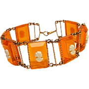Depression era orange neon plastic cameo wire wrap bracelet