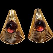 Napier purple glass cabochon clip earrings