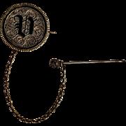 Lady Liberty enamel love token pin antique