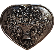 800 Silver heart box basket of roses repousse