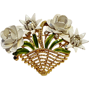 Trifari basket of flowers pin enamel rhinestone