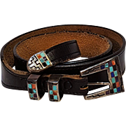 Navajo Teme inlaid stone sterling silver buckle set Ranger belt