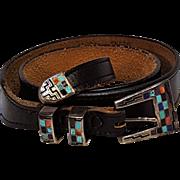 Navajo Teme inlaid stone sterling silver buckle set Ranger belt