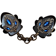 Bakelite cloak clasp ornate rhinestone decoration