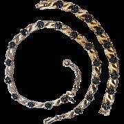 Trifari blue rhinestone ribbon necklace bracelet set