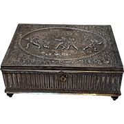 Jennings Bros JB desk jewelry casket box repousse silver plate
