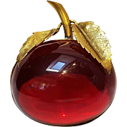 Red Lucite apple pin
