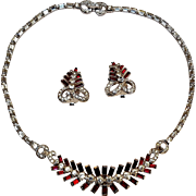 Mazer Bros red rhinestone rhodium plate necklace earrings set