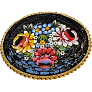Italian mosaic pin floral design