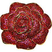 Joan Rivers rose pin pave red rhinestone