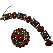 Brass carnelian glass cabochon rhinestone bracelet brooch pin set