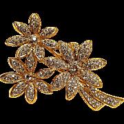 Napier rhinestone flower trio pin